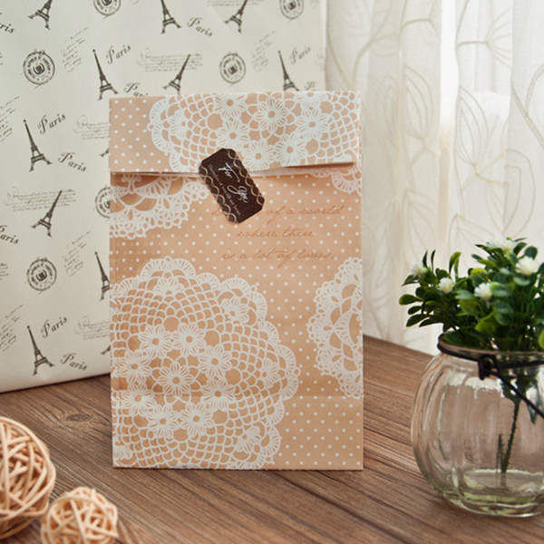 elegant lace favor paper bag with seal EWFB084