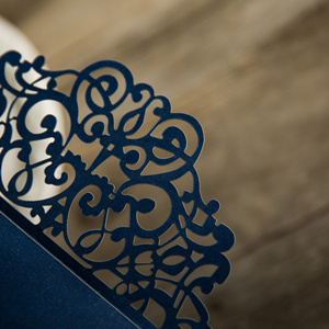 elegant navy blue laser cut pocket for wedding invitations