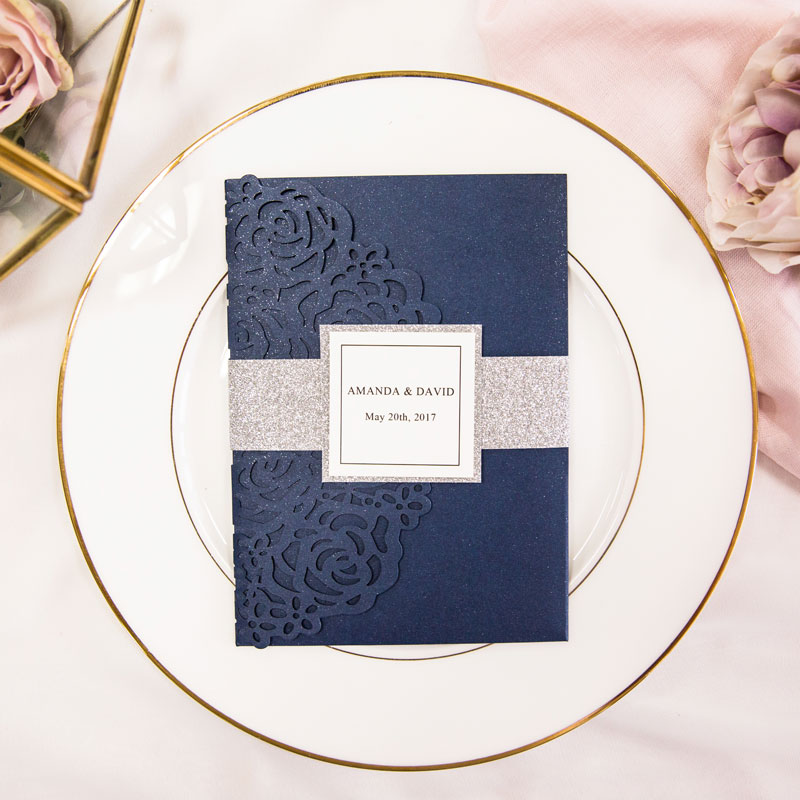 elegant navy blue laser cut pocket wedding invitations with glitter belly band