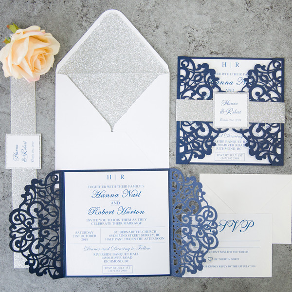 fabulous navy blue laser cut wedding invitations with glitter belly band and tag