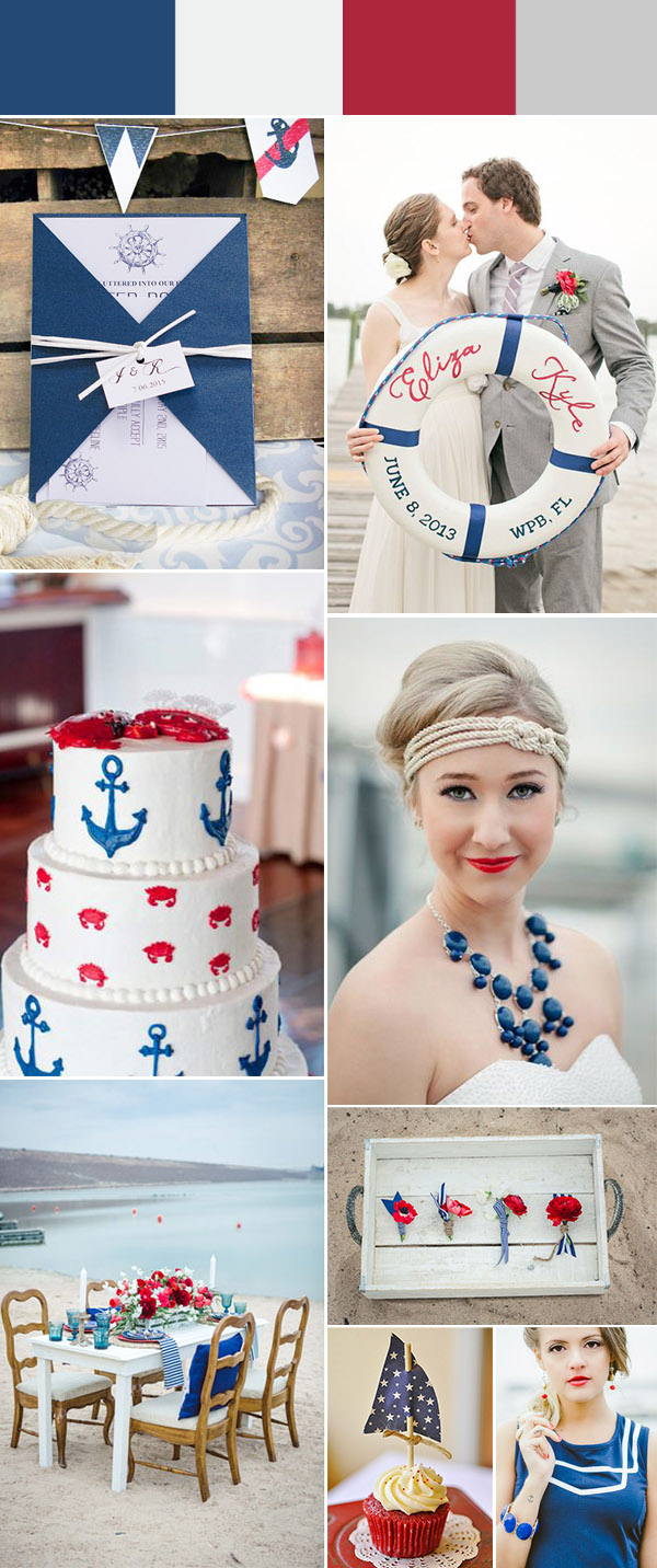 nautical and red beach wedding ideas and invitations