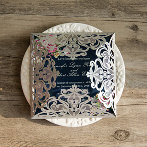navy and silver laser cut wedding invitations with pink floral designs