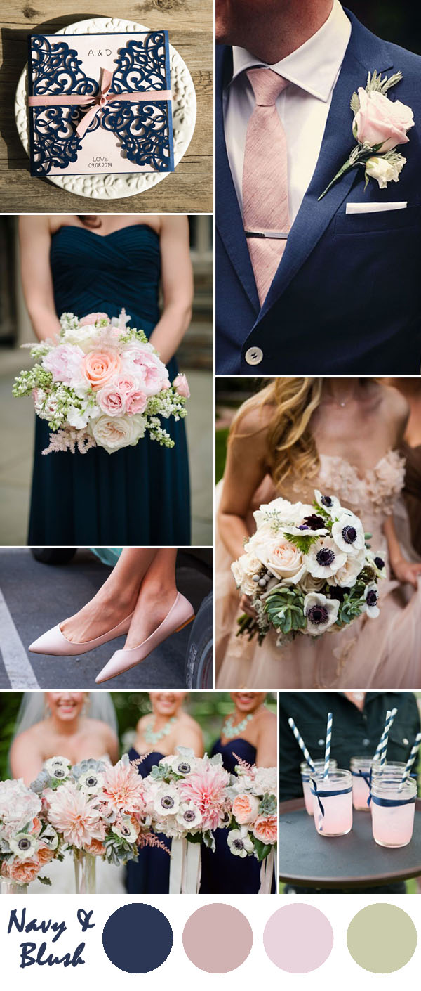 Navy And Blush Wedding.Ten Most Gorgeous Navy Blue Wedding Color Palette Ideas For 2016