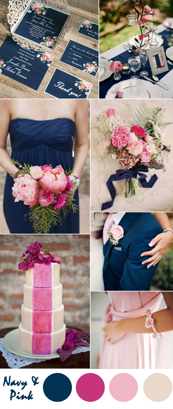 Ten most gorgeous navy blue wedding color palette ideas for 2016 navy blue and pastel pink country wedding ideas junglespirit Gallery