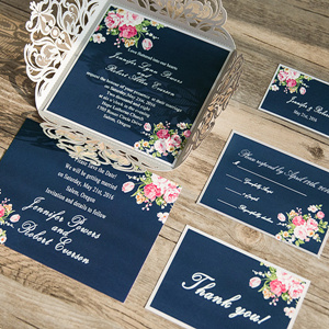 navy blue and pink laser cut wedding invitations