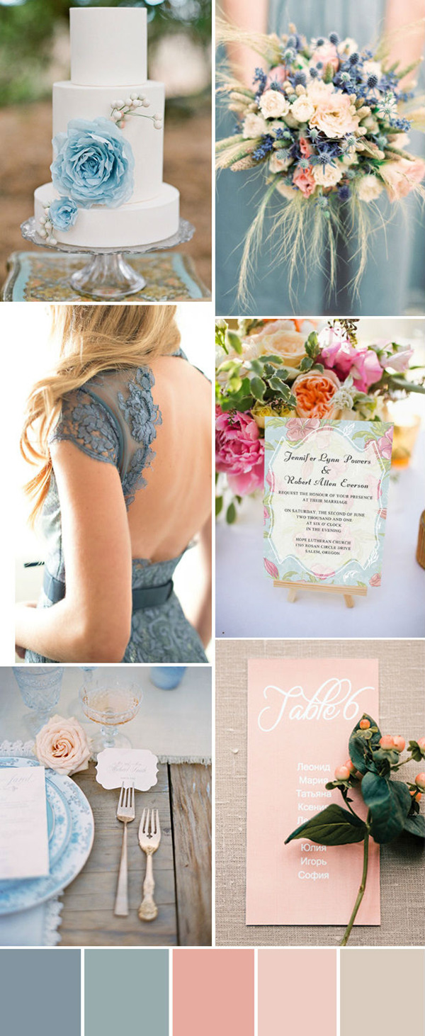 peach and blue inspired summer wedding ideas