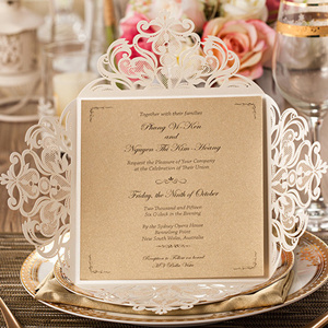 pearl white elegant laser cut wedding invitations