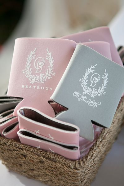 Pink And Grey Can Cooler Wedding Favors