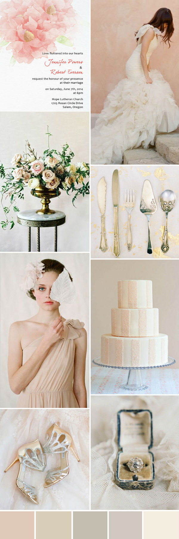 pretty nude and blush wedding colour palette