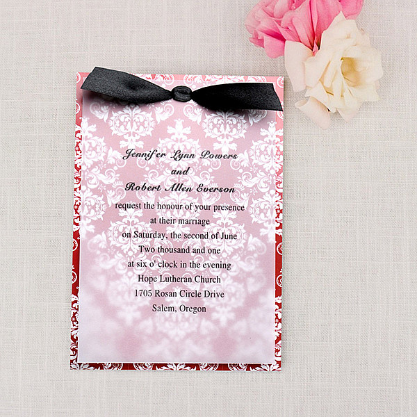 red damask layered christmas wedding invitations with ribbons