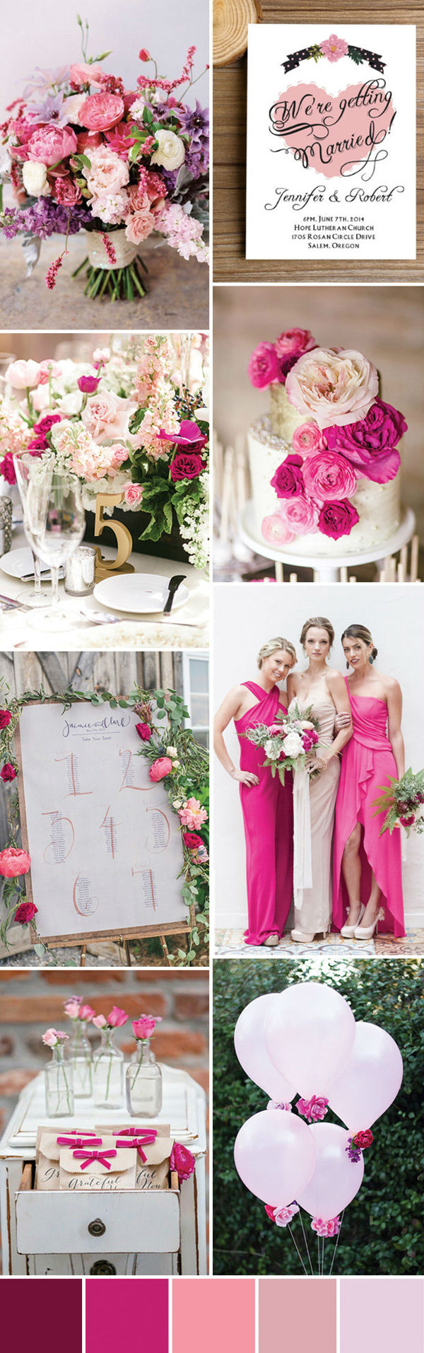 seven wonderful wedding color ideas in shades of pink ...