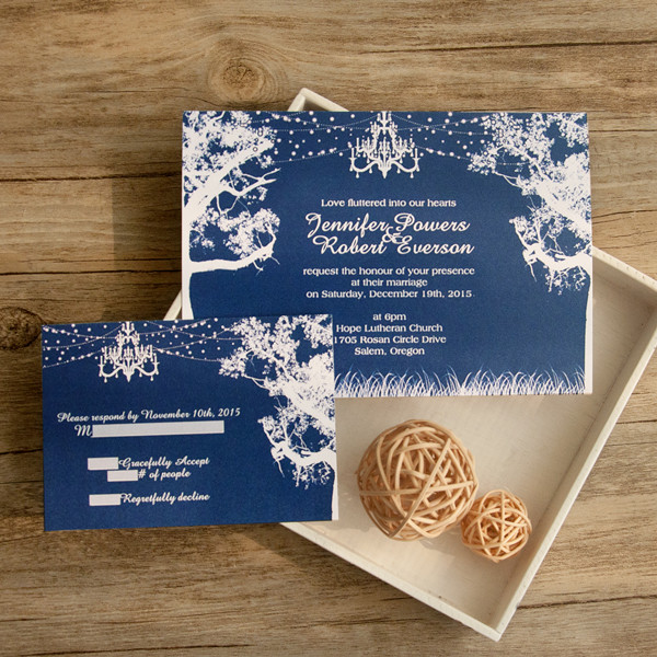 romantic night tree chandelier wedding invites EWI407