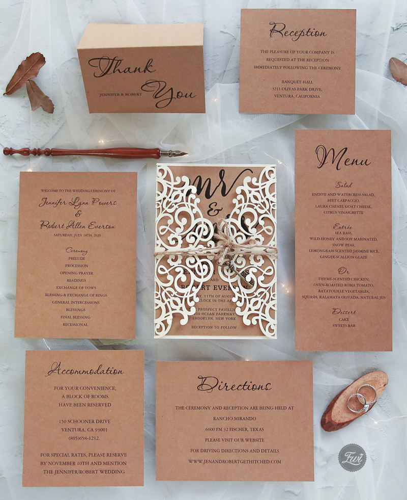 rustic chic laser cut wedding invitation