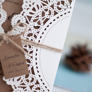 rustic laser cut wedding invitations with a touch of elegance