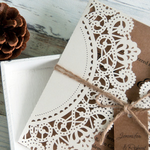 rustic laser cut wedding invitations with burlaps