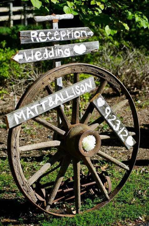 rustic wagon wheel wedding signs
