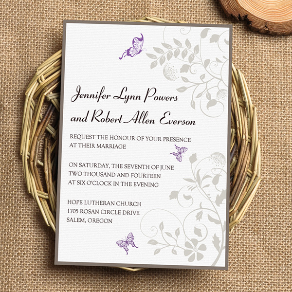 spring purple flower and butterfly wedding invites