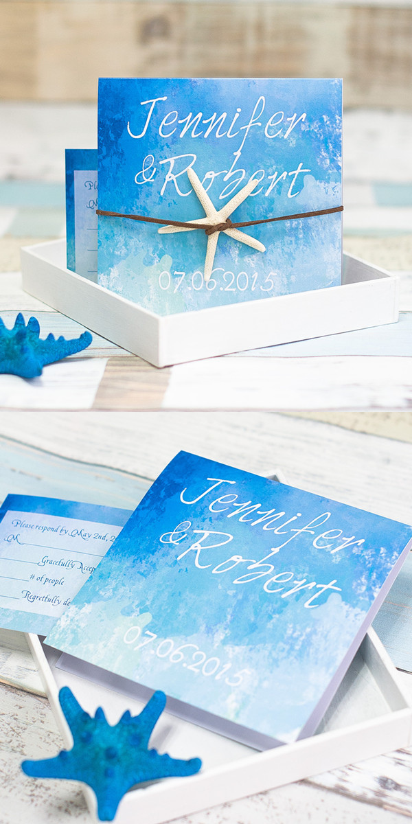 starfish folded summer wedding invitations