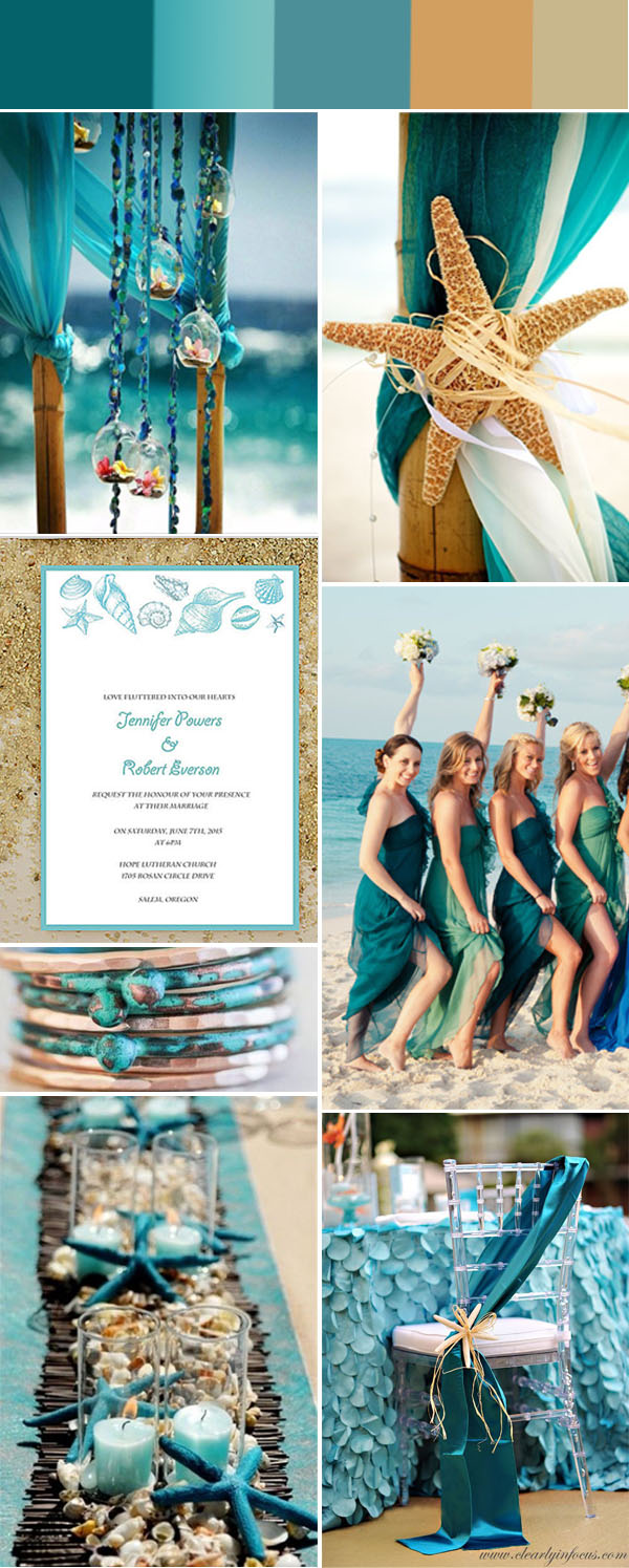 turquoise and starfish beach wedding ideas and blue beach wedding invitations