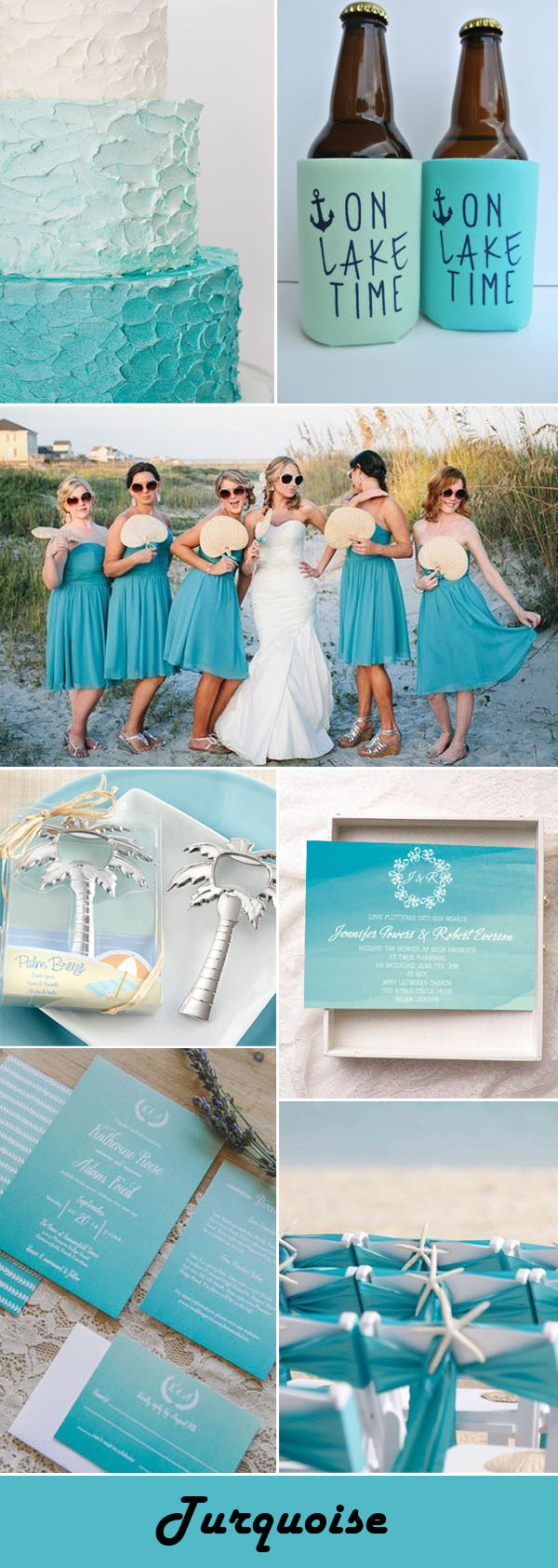 turquoise beach wedding color ideas with personalized koozies wedding favors