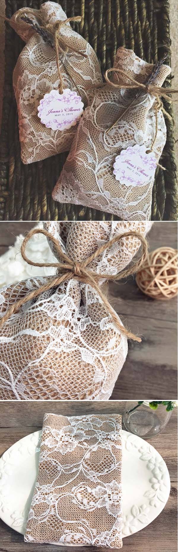 vintage lace and burlap wedding favor bags