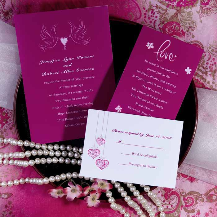Cheap-hot-pink-love-birds-and-heart-wedding-invitations-EWI176