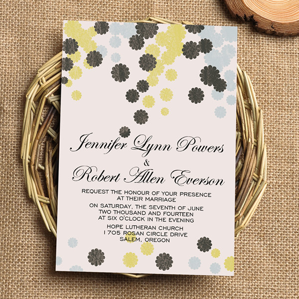 affordable grey yellow flower bohemian wedding invitations