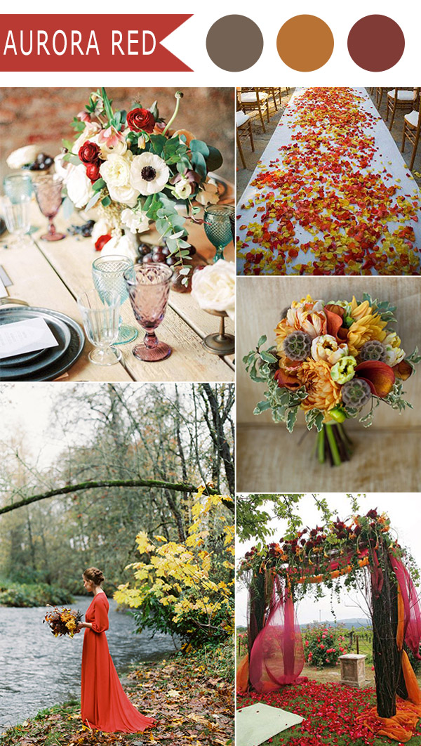 aurora red and orange outdoor fall wedding color ideas 2016 trends