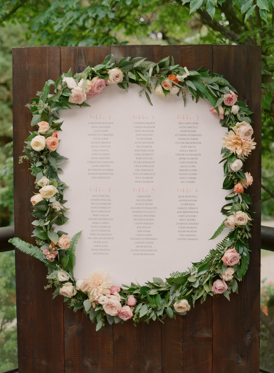 beautiful floral seating chart board for garden weddings