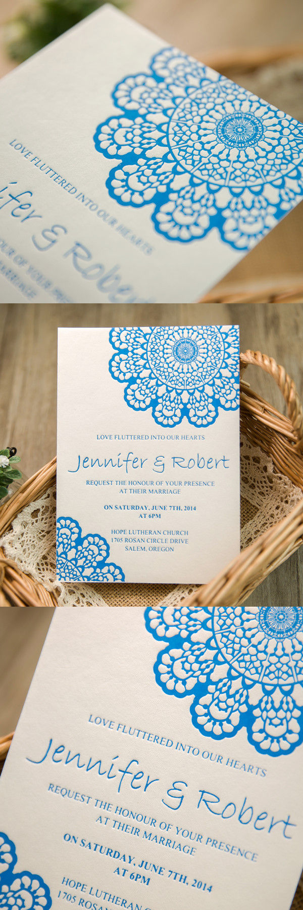 blue lace design letterpress wedding invitations