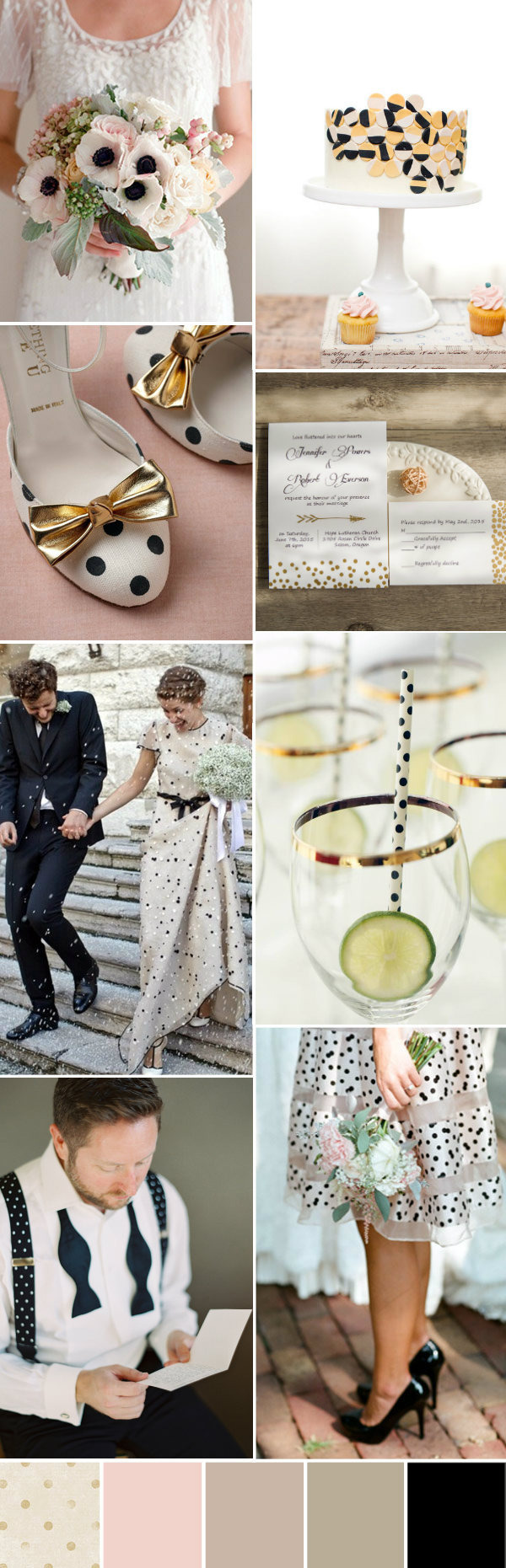 blush gold grey wedding color palette with polka dots