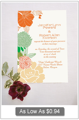 boho themed orange green and yellow floral wedding invitation cards
