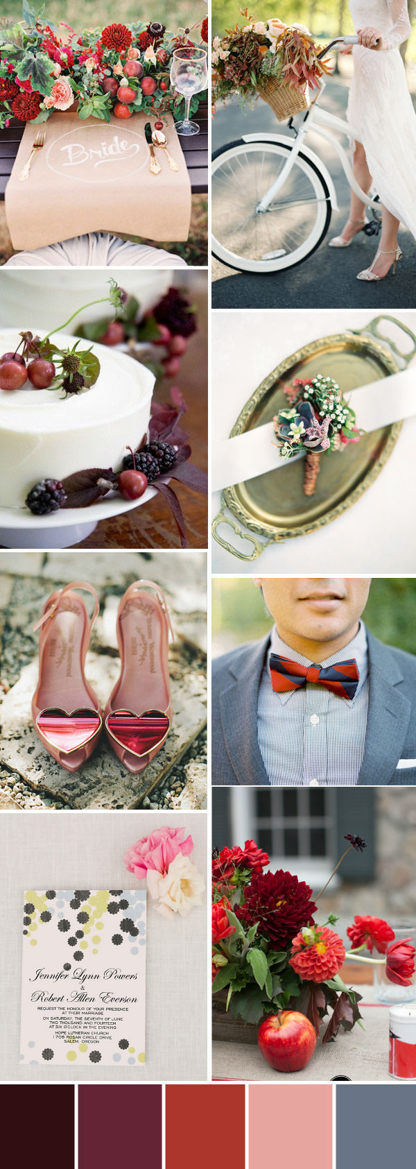 bright fall berries wedding colour palettes