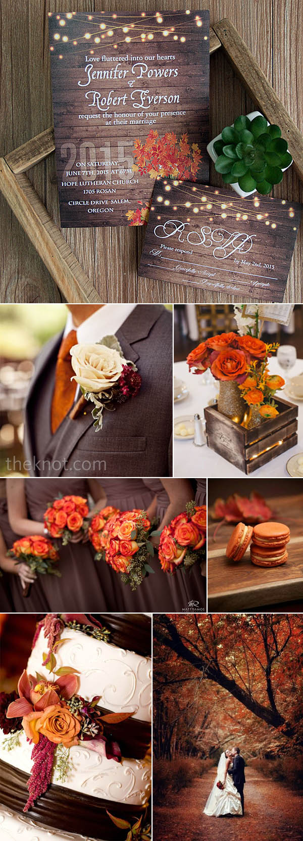 brown and orange fall and autumn wedding ideas and invitations
