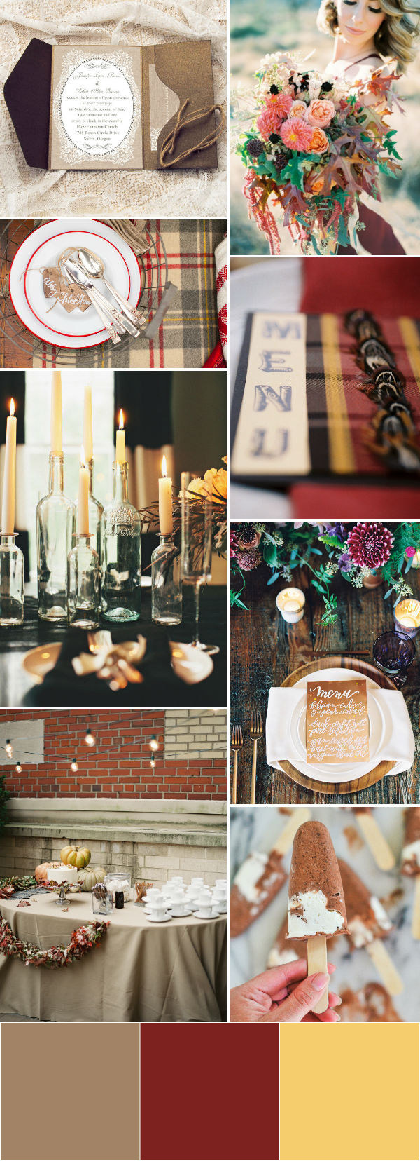 brown themed fall wedding color ideas