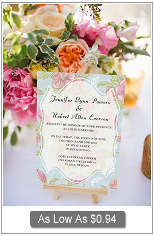 chic elegant pink and blue floral wedding invitations EWI298