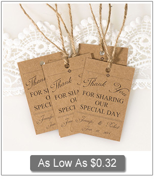 chic rustic wedding thank you card favor tags