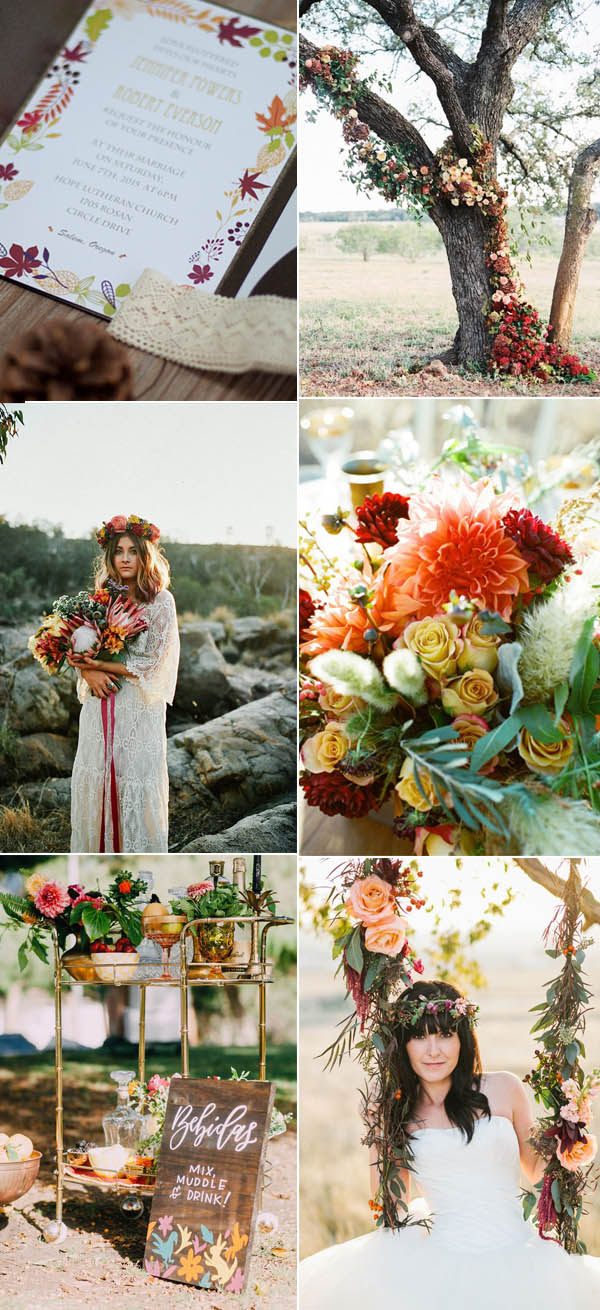 colorful bohemian fall and autumn wedding color ideas