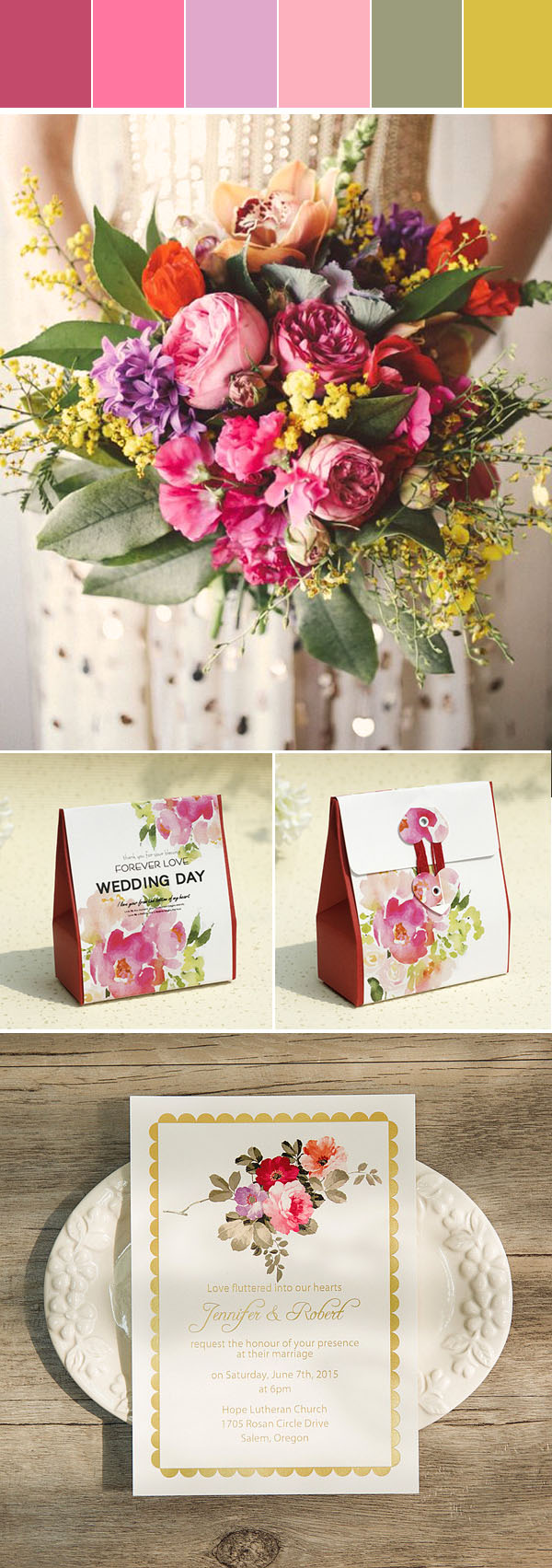 colorful pink floral summer wedding color ideas and invitations