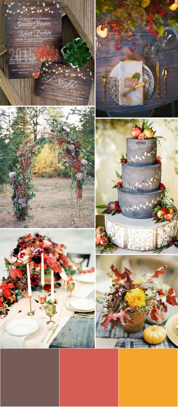 country fall wedding color palettes with brown red and yellow