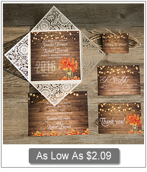 country rustic fall laser cut wedding invitations 2016