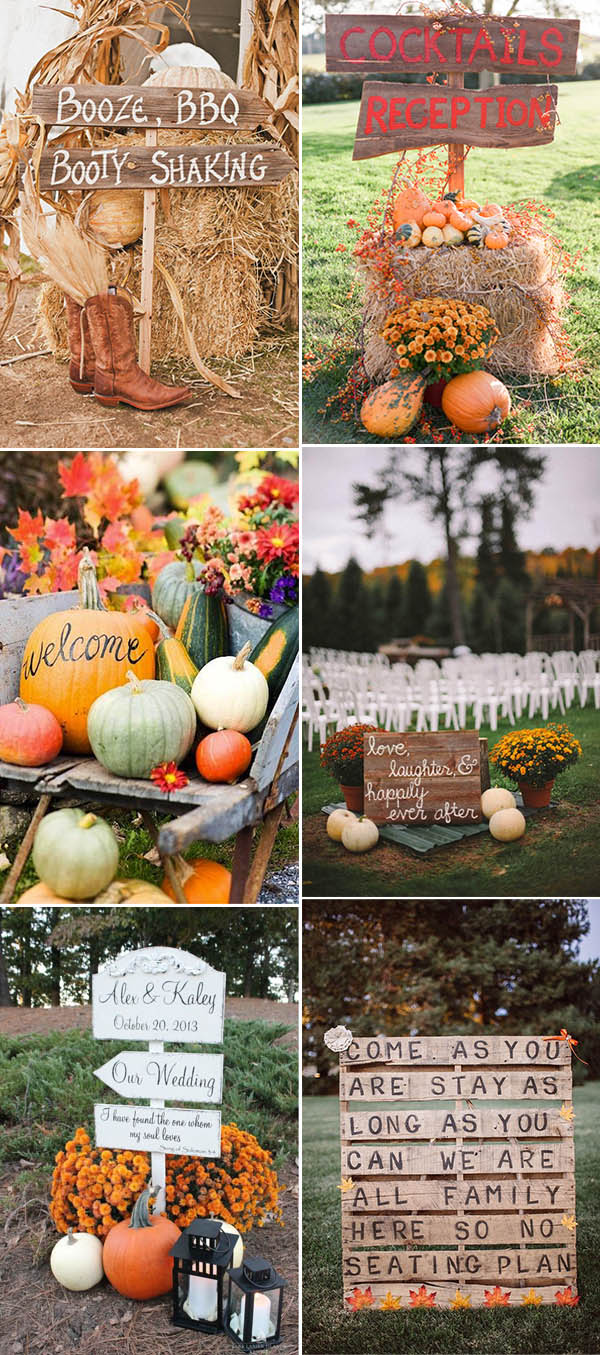 creative fall and autumn wedding signs and decoration ideas