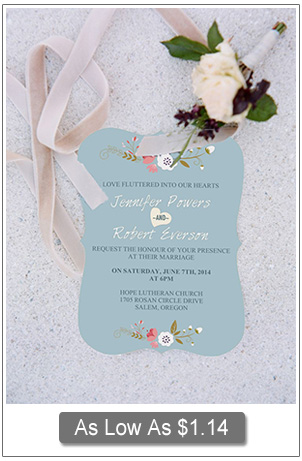 dusty blue and pink bracket shaped shabby chic wedding invitations