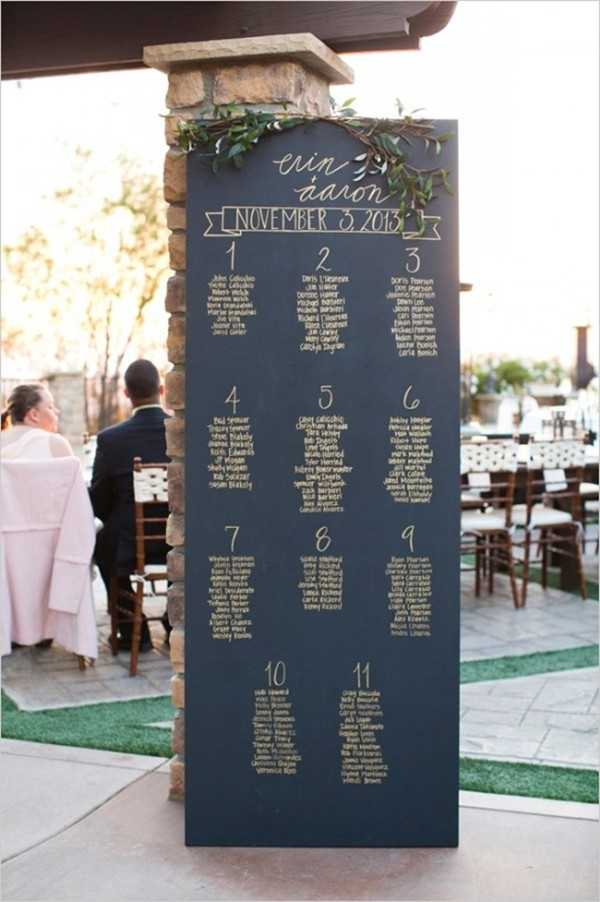 Easy To Read Chalkboard Seating Chart With Handwritten Names