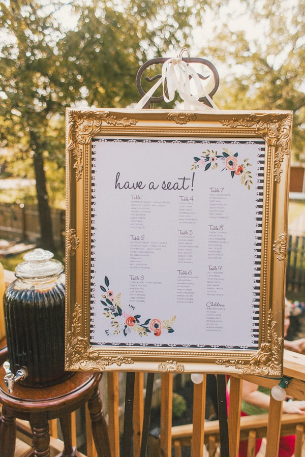 Elegant Gold Frame Seating Chart Ideas For Weddings
