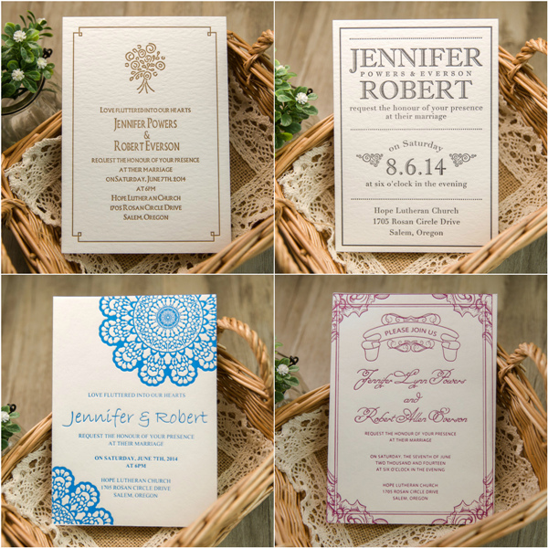 Four Elegant Letterpress Wedding Invitations With Wonderful Color Palettes