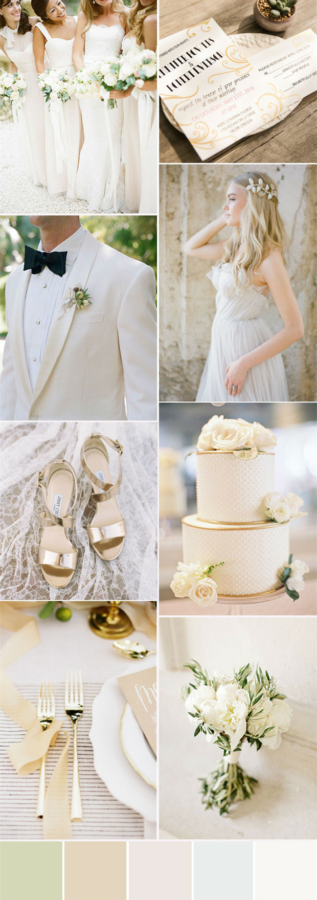 glam white and gold colour palette