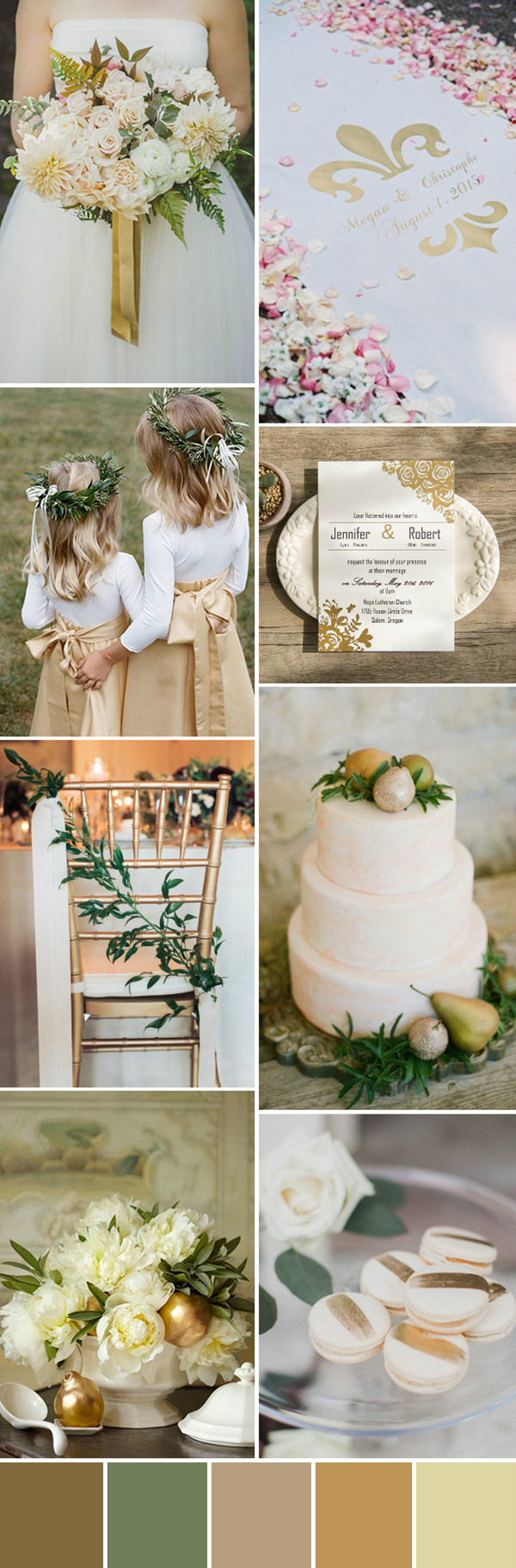 glamorous gold wedding color palette