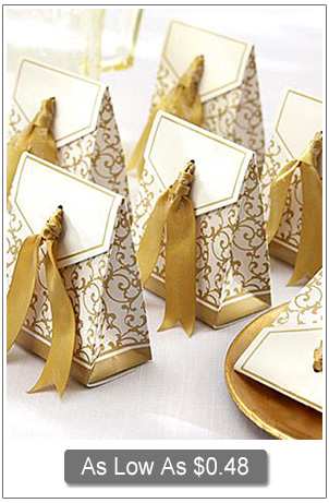 gold yellow damask wedding favor boxes