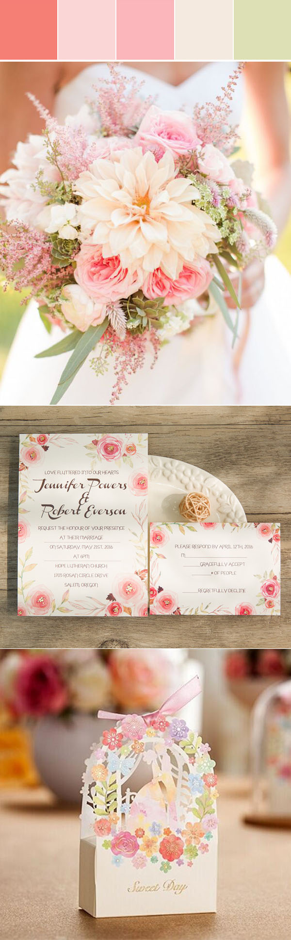 gorgeous spring and summer wedding colors, foil floral wedding invitation and wedding favor bags